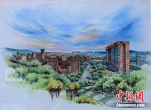 江西一高校学生手绘校园风景办画展